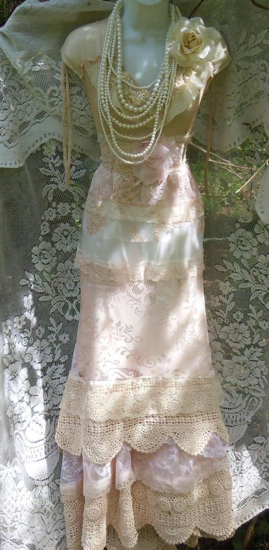 Blush wedding dress lace crochet mermaid flapper edwardian for Vintage lace mermaid wedding dresses