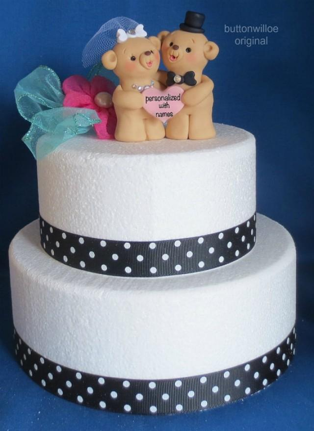 Teddy Bear Wedding Cake Topper Personalized Heart 2277978