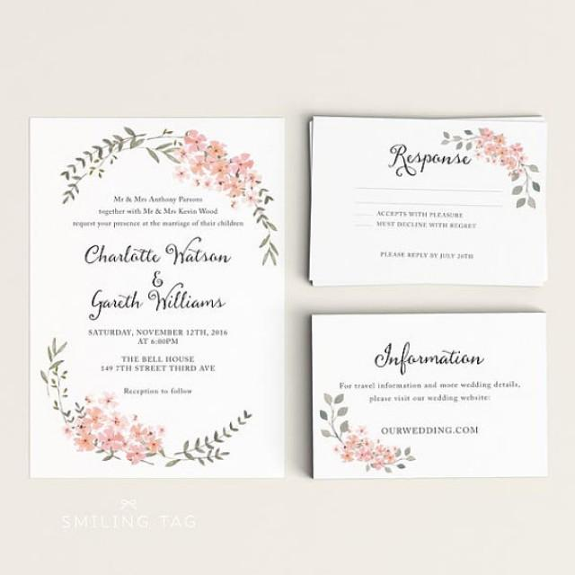 Printable Wedding Invitation Set  Watercolor Floral Garden