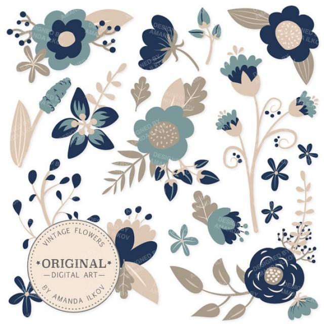 SPRING SALE Premium Navy Blue Floral Clipart Flower Vectors
