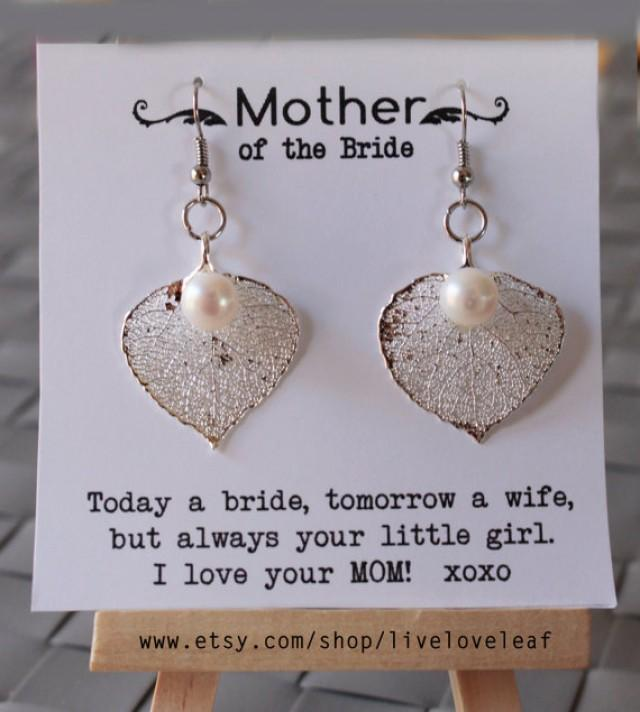 Mother Of The Groom Gift Ideas Silver Dipped Aspen Leaf Earrings