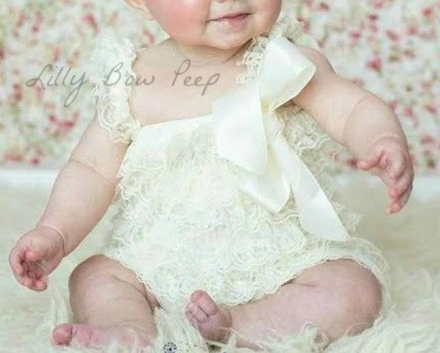 Ivory Lace Romper Baby Girl Clothes Preemie Newborn Infant Child Toddler Flower Dress Birthday Outfit Baptism Wedding SOFT 2279113