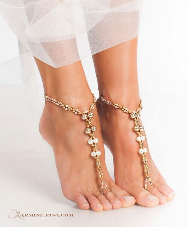 Champagne Gold Bridal Barefoot Sandals Beach Wedding Foot Jewelry Pearl Accessory Beaded Sandles Dance Shoes Soleless 2279845