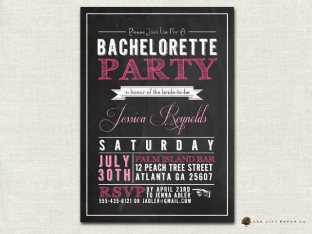 Bachelorette Invitation - Chalkboard Themed Bachelorette Party ...