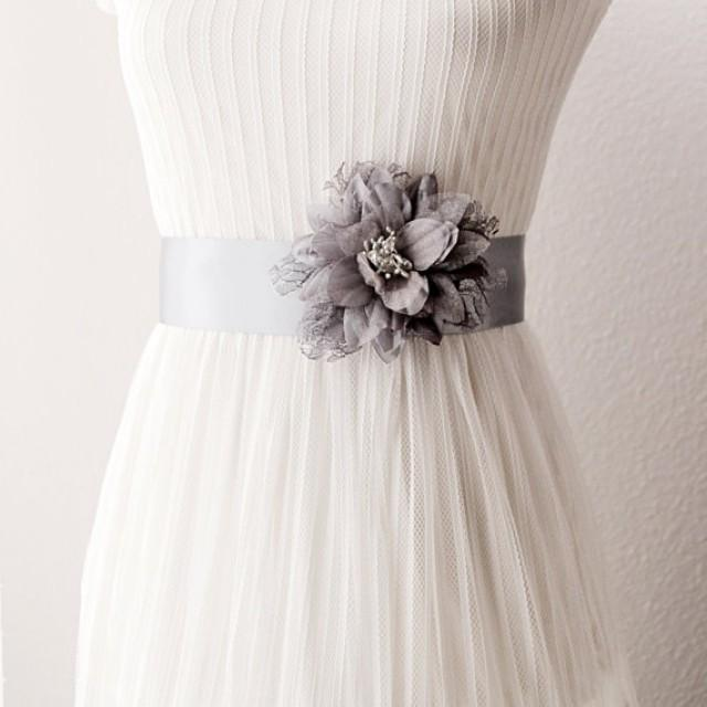 Flower Belts For Wedding Dresses: Silver Grey Lace Flower Ribbon Sash Belt