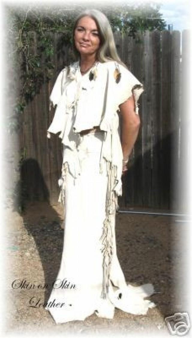 Leather Deerskin Wedding Two Piece Outfit Dress Native American Style Regalia Pow Wow In Cream Handmade By Debbie 2280424