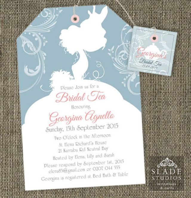 bride silhouette shower tea invitations bridal shower high tea traditional tea bag invitation printable 2280481 weddbook