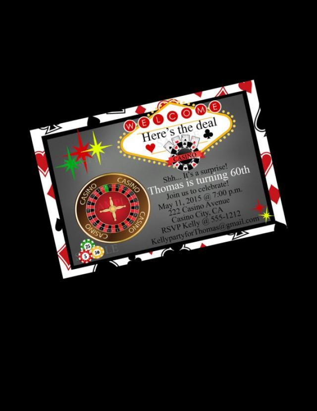 Casino Party Invitation 60th Birthday Blackjack Bachelor Party ...