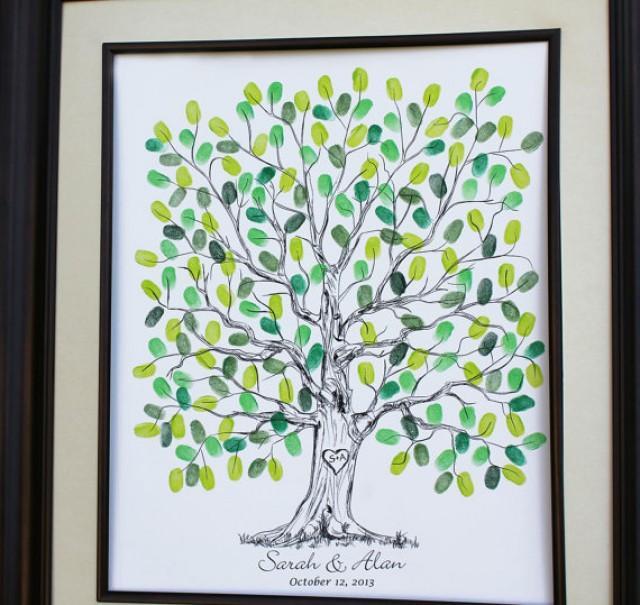 Personalized Thumbprint Tree Wedding Guest Book Alternative: Custom Wedding Guest Book Alternative Original Wedding