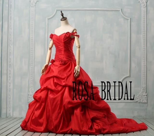 Red Wedding Dress Plus Size Off The Shoulder Wedding Dress Plus