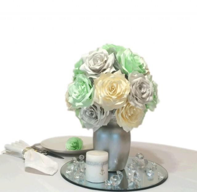Mint Green Silver And Ivory Reception Table Centerpieces Mint Green