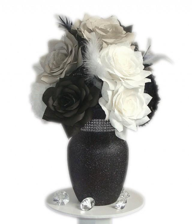 Black and white centerpiece black white wedding decor fake black and white centerpiece black white wedding decor fake flower decor home decor bridal shower decor silk flowers paper flowers 2281540 mightylinksfo
