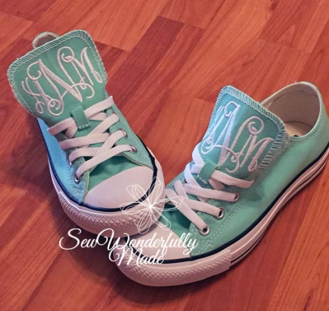 Personalized Wedding Slippers Bridal Party Slippers: Monogrammed Mint Converse, Monogrammed Wedding Day Shoes