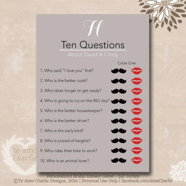ten questions bridal shower game personalized wedding shower game 2281693 weddbook