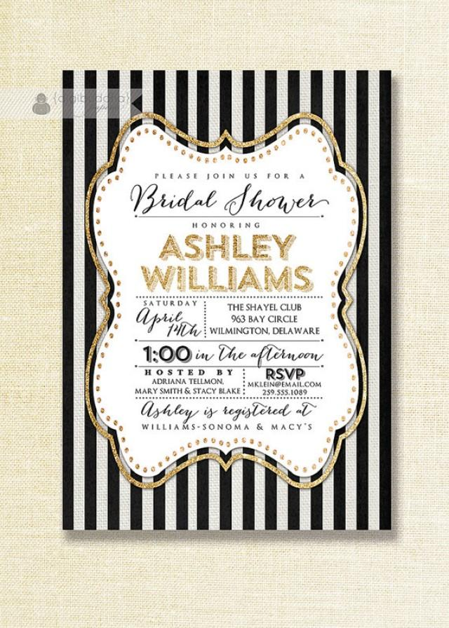 Gold Black White Bridal Shower Invitation Glitter Sparkly Striped Linen Shabby Chic FREE PRIORITY SHIPPING Or DiY Printable