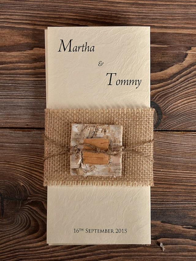 Custom Listing (100) Birch Bark Burlap Wedding Invitation, Country ...