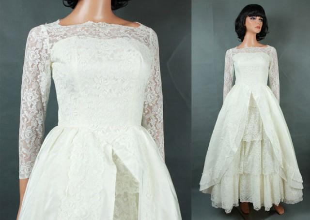 Vintage 60s Wedding Gown XXS Long Full Off White Tiered Lace Tulle ...