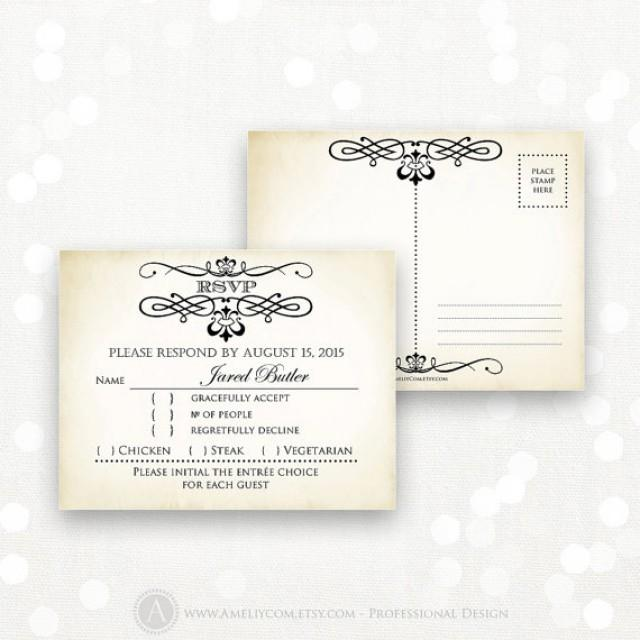 Printable rsvp card editable instant download digital diy vintage reply card response cards for Printable rsvp card