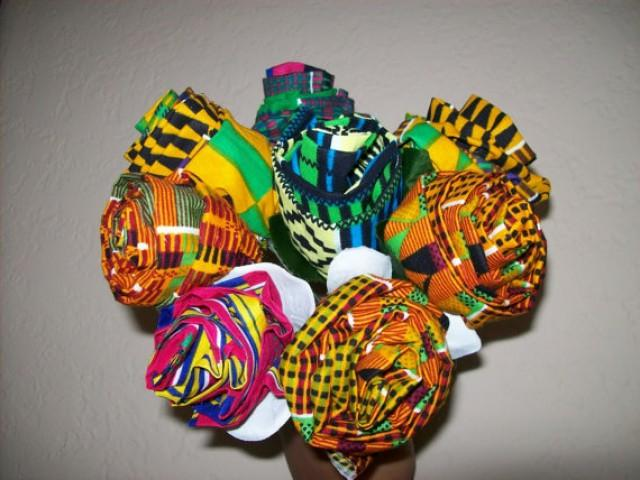 8 African Fabric Roses Kente Fabric Flowers African