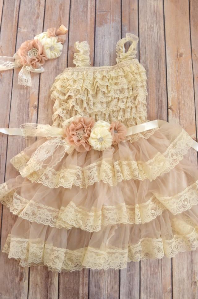 Vintage ivory lace flower girl dresses