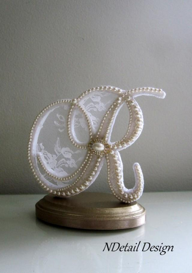 wedding cake topper custom letter r vintage pearls  white lace and gold rhinestone brooch for