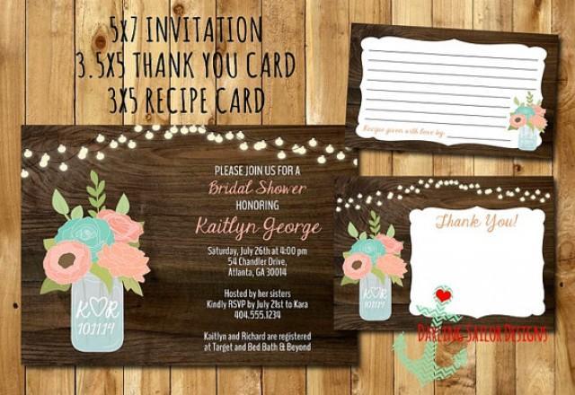rustic mason jar bridal shower invitation recipe card thank you
