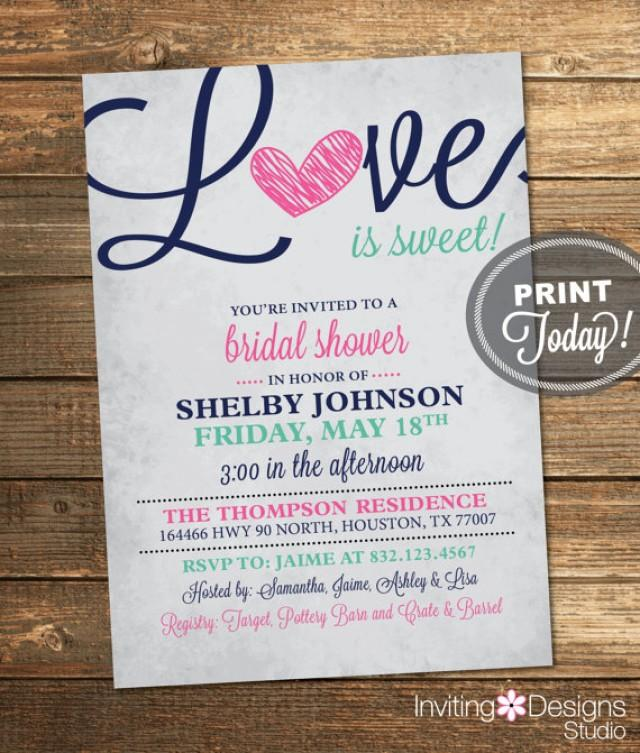 Bridal Shower Invitation, Love Is Sweet, Heart, Navy Blue, Mint ...