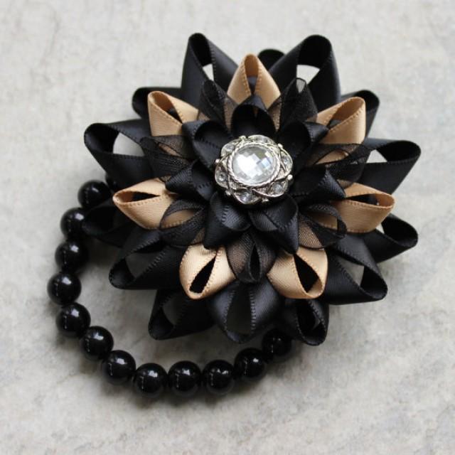Black Flower Corsage Brooch Masoomah: Wrist Corsage, Flower Corsage Bracelet, Black Corsage