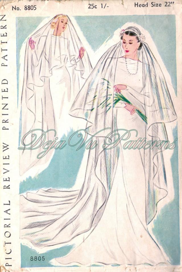 Pictorial Review 8805 Gorgeous Vintage 1930s Bridal Veil Sewing Pattern 2284487