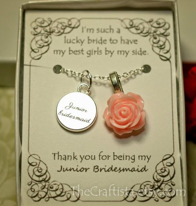 Personalized Junior Bridesmaid Necklace With Color Motiff And
