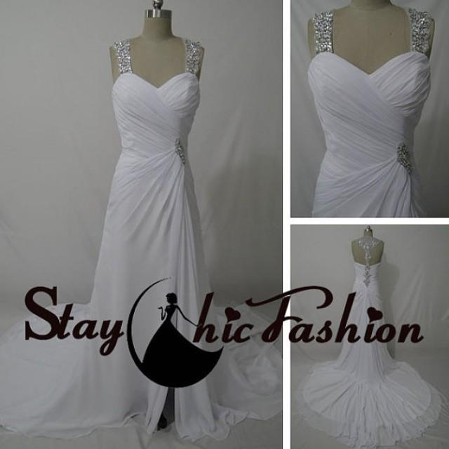 Wedding Gowns For Small Bust: Sequined Straps White Long Pleated Bust Jeweled T-strap