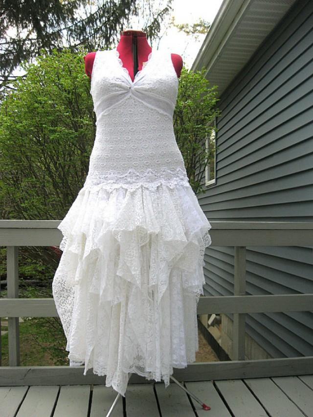 Xxl White Tattered Wedding Dress Boho Bohemian Hippie