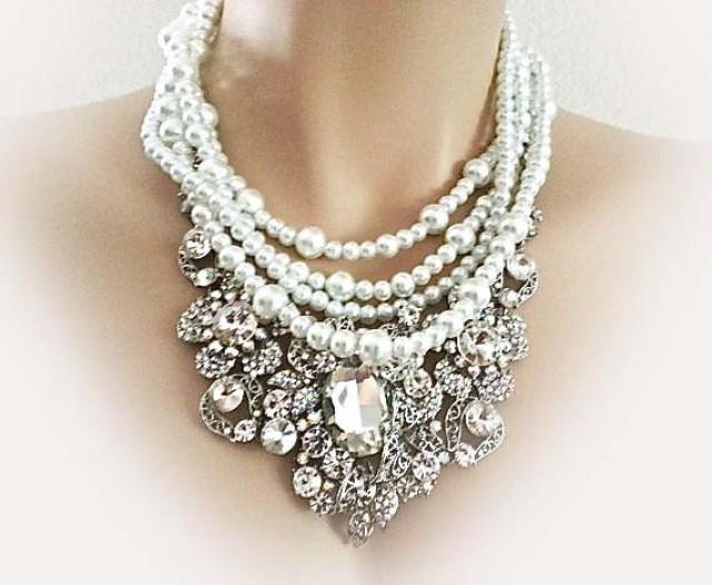 Pearl Rhinestone Bridal Jewelry Set Necklace Earrings Wedding