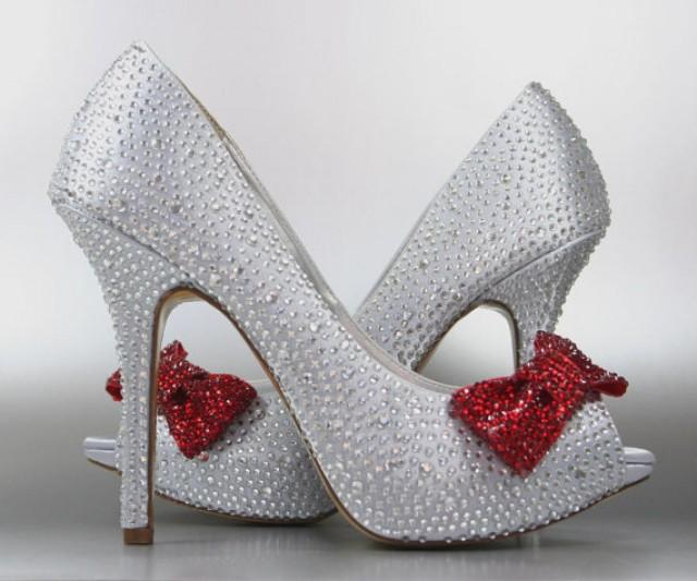 Wedding Shoes Silver Rhinestone Covered Platform Peep Toe With Red Bow On 2285075