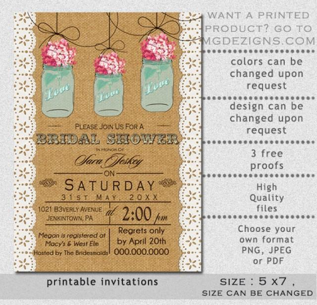 graphic regarding Free Printable Bridal Shower Invitations Templates titled Printable Burlap And Lace Exquisite Crimson Hydrangea Blue Mason