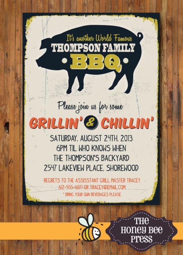 Back Yard BBQ Party Invitation - Pig Roast - Memorial Day ...