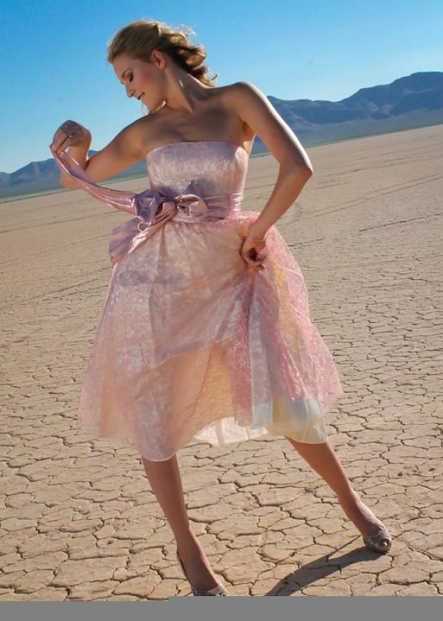 50s Style Blush Pink Metallic Lace Ivory Vintage Wedding