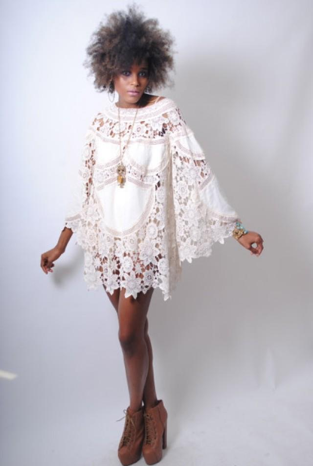 Boho Bell Sleeve 70s Dress Style Ivory Lace Crochet