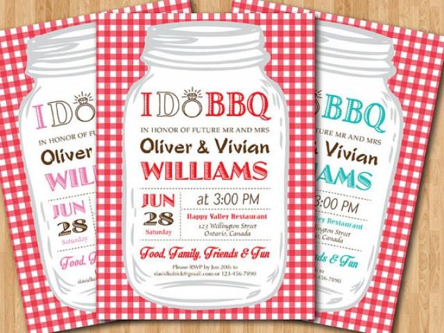 I Do BBQ Wedding Invitation Gingham Couples Shower Mason Jar