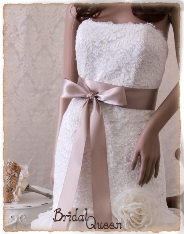 Taupe bridal sash wedding dress sash bridal belt bridal for Wedding dress belt sash