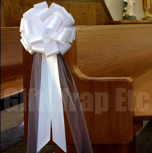Diy Church Wedding Decorations: 6 Large White Pull Bows Tulle Tails Wedding Church Pew