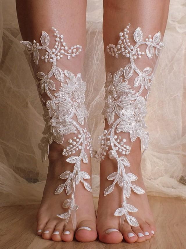 Unique Lace Sandals Ivory Beach Wedding Barefoot Sandals