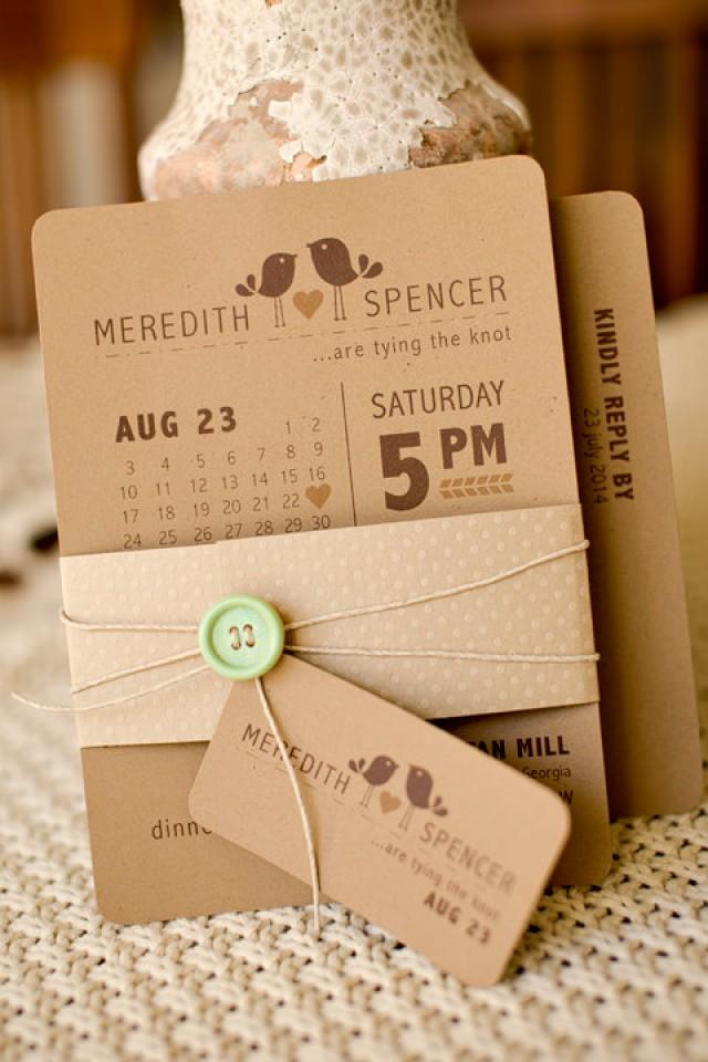 Modern Rustic Inspired Bird Themed Printable Wedding Invitation With ...