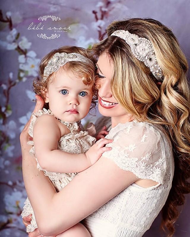 Baby Girl Headband Hair Band Crystal Pearl Christening Baptism Photo Prop