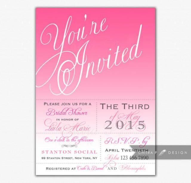 Pink bridal shower invitations printed or printable wedding pink bridal shower invitations printed or printable wedding invite typography ombre girl princess first birthday rose brunch tea 022 2286754 filmwisefo