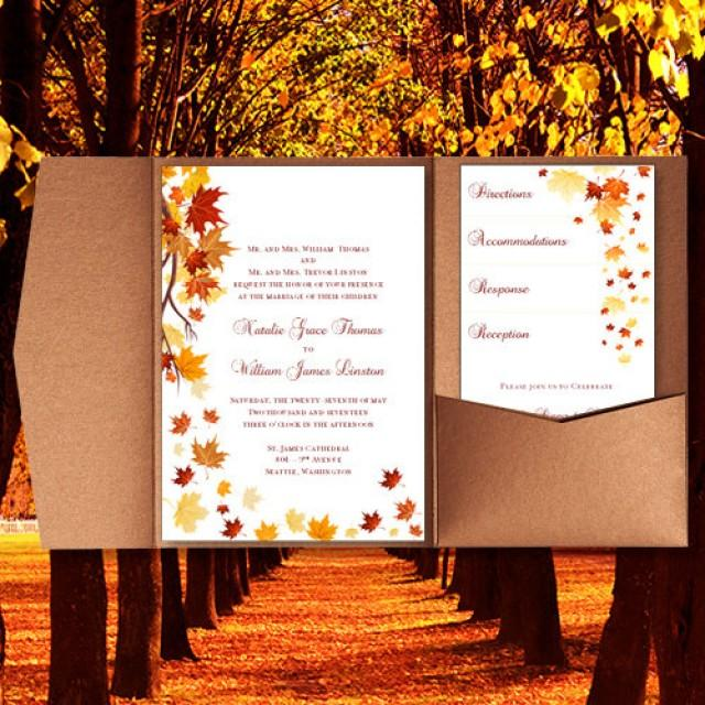 "When Do You Send Out Wedding Invitations: Pocket Fold Wedding Invitations ""Falling Leaves"" Fall"