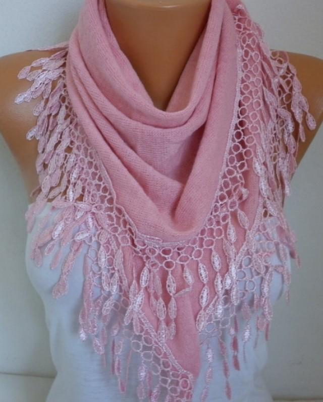 Pink Knitted Scarf Shawl Lace Oversized Bridesmaid Bridal Accessories Gift Ideas For Her Women