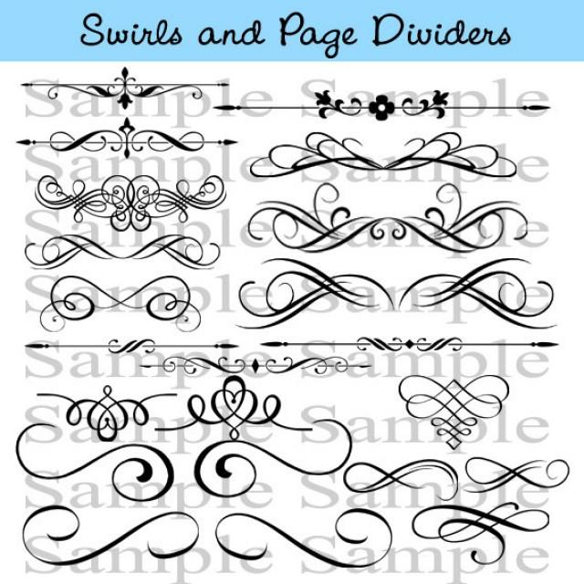 Swirls wedding clipart instant download calligraphy design