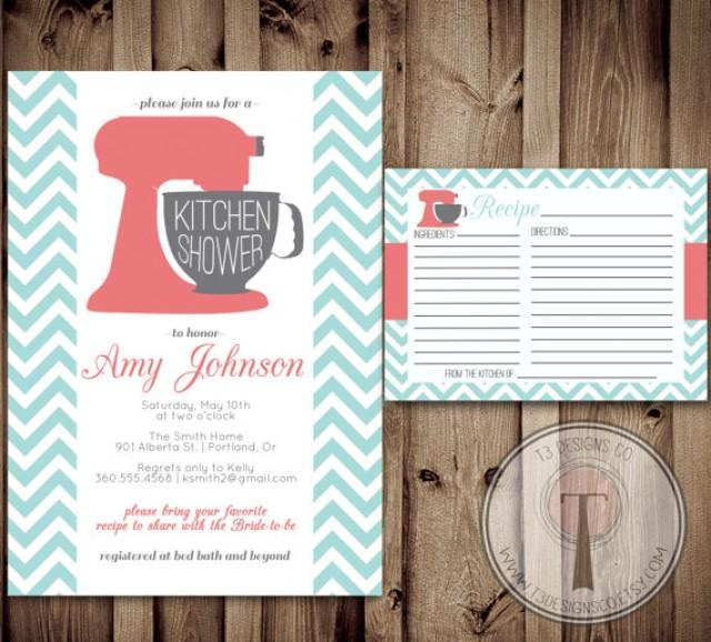 Kitchen shower invitation and recipe card kitchen shower bridal kitchen shower invitation and recipe card kitchen shower bridal shower wedding showering invitation invite recipe card 2287588 weddbook filmwisefo