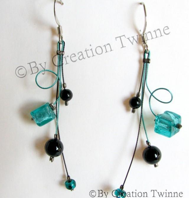 Turquoise Black Swirls Earrings Mother Gift Christmas Gift Idea Bridesmaids Earrings Wedding Jewelry Funky Handmade Earrings 2288092 Weddbook